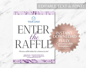Purple Marble and White Hair Salon and Monat Business Enter the Raffle Sign INSTANT Template