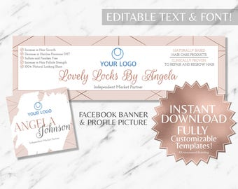 Rose Gold and Blush Pink Hair Salon and Monat Facebook Banner and Profile Picture INSTANT Template