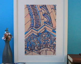 Architectural Giclée Print, Architecture Italian Church Art Gift for Architect, Architectural Drawing Illustration Italy Wall Art Pink Blue
