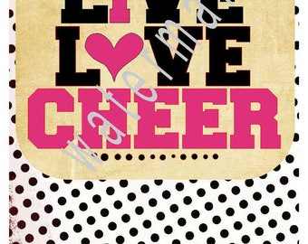 Cheerleader SVG - Live love Cheer transfer - Cheer mom SVG -silhouette cameo cricut DXF  - I love Cheer t shirt iron on Cheerleader mom svg