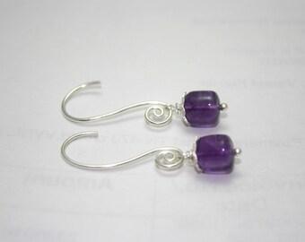 Amethyst Dangle Earrings   Simple Modern Gemstone Earrings   Sterling silver earrings   Minimalist Earrings  Contemporary Jewelry 