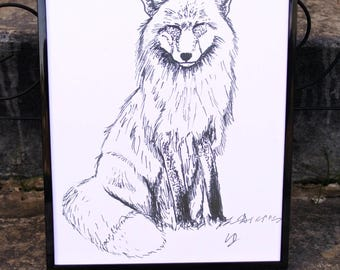 Fox Micron Pen Print - Animals, Minimalist, Art, Decor