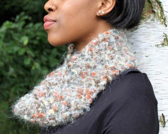 Autumn Walk Scarf/Cowl, Hand Knitted, Mohair/Wool/Acrylic Mix, One Off