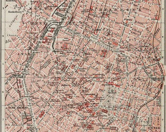 1897 Antique city map of BRUSSELS, BELGIUM. Bruxelles. 121 years old chart