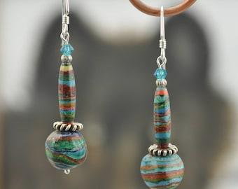 Rainbow Calsilica silver Swarovski dangle Earrings