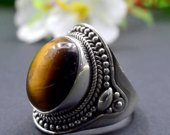 Natural Tiger's Eye Oval Gemstone Ring 925 Sterling Silver R782
