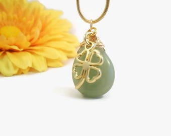 Good luck charm necklace, four leaf clover, pale green aventurine stone,  natural chalcedony, wire wrapped pendant, shamrock, gift for her