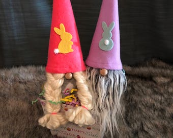 Easter Bunny Gnome Couple Scandinavian Gnomes Tomte Nisse Boy Girl Gnome Easter Basket Easter Gift