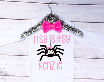 Baby Girl's Itsy Bitsy Spider Onesie - Halloween Onesie - Halloween Costume - Spider Bow - Fall Onesie - Halloween Shirt