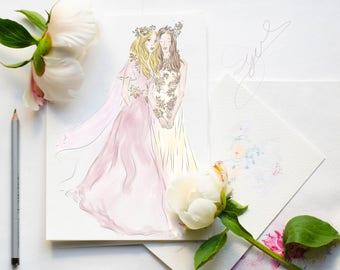 My bestie Fashion illustration print Fays Dress illustration