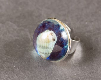 Ring made of resin with inclusion of shell