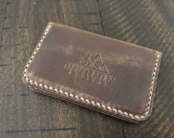 Denali Three Pocket Card Case - Horween Leather Natural Chromexcel - front pocket wallet - Minimalist Wallet