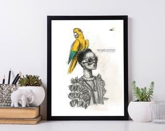Parrot(Print)-Versace-Streetwear-Modern-Decor-Art-Home-Unique-Illustration-Fashion Wall Art
