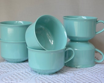 Genuine MELMAC Cups, Melamine Coffee Mugs in Vintage Blue, Mid Century Kitchen, Set of Six