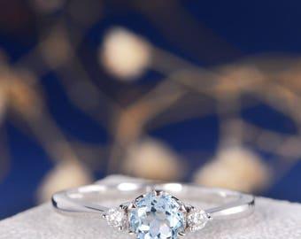 Three Stones Ring Aquamarine Engagement Ring Diamond Cluster White Gold Ring Thin Minimalist March Birthstone Anniversary Promise Multistone