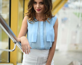 light blue summer transparent chiffon blouse