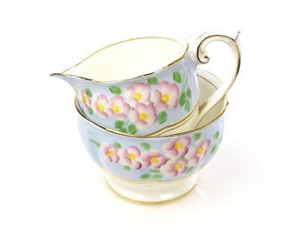 Bell China England Fine Bone China Milk Jug Creamer & Open Sugar Bowl Hand Painted Pink Flowers on Blue