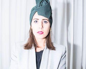 Maxmara-handmade cotton green band/turban/headband/wrap