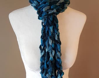Crochet Chain Scarf- Shades of blue