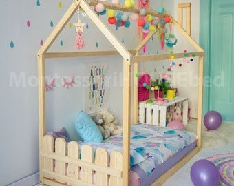 Toddler bed house bed tent bed wooden house wood house wood : infant tent bed - memphite.com