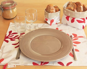 Tablecloth set table waterproof red and white - washable reversible placemat - placemat in coated cotton - washable picnic