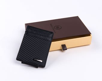 WALLETOLOGY, carbon fiber leather card holder wallet, with FREE carbon fiber bottle opener, Valentines Day Gift