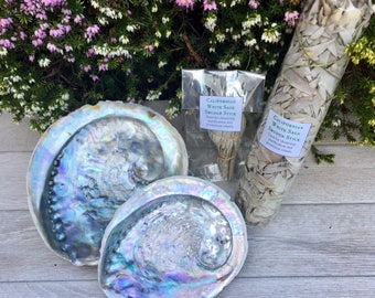 Abalone Shell with Sage Smudge Kit - 2 Sizes