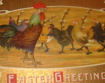 Nice Vintage Easter Postcard (Rooster and Hens)
