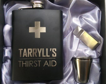 His (your name) Thirst Aid Flask // Gift for Him // Funny Flask // Hip Flask for Men // 21st Birthday Gift // 7 oz