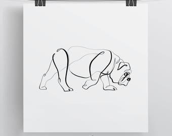 English Bulldog Art Print | Bulldog Print | One Line Drawing | Continuous Line | Minimal Dog Portrait | Calligraphy Print | Bull Dog Drawing