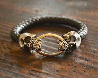 Mens Skull Bracelet Mens Bracelet Chain bracelet Black Bracelet Leather Bracelet