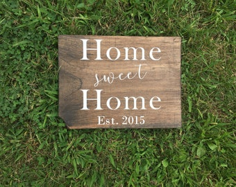 Home Sweet Home Wood Sign | home sweet home | home sweet home sign | rustic home sign | housewarming | home established sign | home 12 x 12
