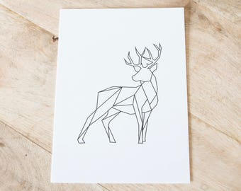 Deer art print black and white or color-graphics animals 13x18cm