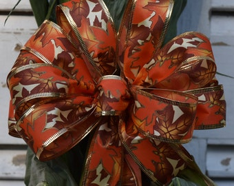 Autumn Leaves Bow, Leaves Bow, Fall Bow, Thanksgiving Bow, Halloween Bow, Orange, Brown and Gold Bow, Cornstalk Bow, Wreath Bow, Basket Bow