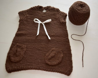 Knitted Baby dress, 100% Baby Alpaca, gift for a special occasion