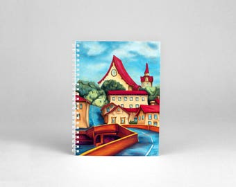 A4 note book art - painting naive art print blanket - Village houses bright colors - digital painting - naive landscape - road