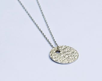 Handmade sterling silver hammered circle necklace