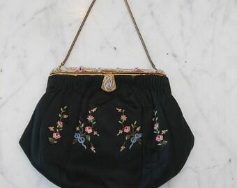 Black Vintage Flower Design Purse