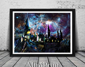 Harry Potter Print, Hogwarts Wall Art, Galaxy Print, Harry Potter Art, Hogwarts Print, Hogwarts Art Print, Harry Potter Wall Art, Hogwarts