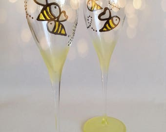 Pair of Hand Painted Busy Bees Champagne flutes