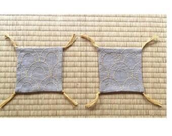 Pair of Sashiko Embroidery Coaster!