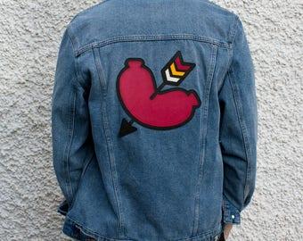 Amore Sausage Heart Customized Denim Jacket Size M