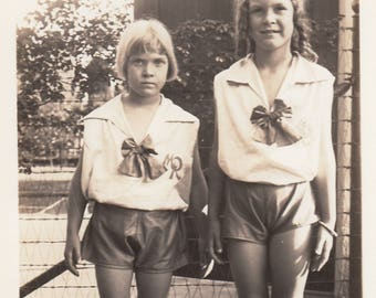 Vintage Photo Cute Sisters Little Girls Matching Outfits Fashion Found Antique Black & White Photography Ephemera Collectible Decoration