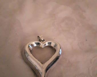 Vintage Sterling Silver Large Heart Pendant - 1970s - Valentines Day Gift!!