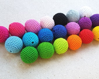 Crocheted beads 20pcs 20mm, Thread beads, Rainbow beads, Wooden beads, Bead mix, Teething beads, Round beads, Crochet beads, DIY Supplies