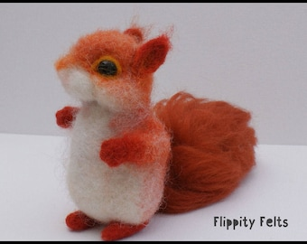 Adorable ooak handcrafted needle felt red squirrel
