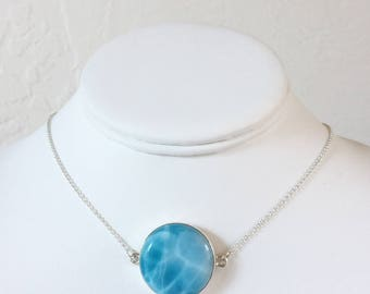 Larimar AAA Turtleback Pendant Necklace Custom Set in Sterling Silver with Toggle Clasp