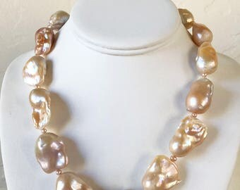 AAA Jumbo Natural Peach Baroque Freshwater Pearl Necklace - One of a Kind