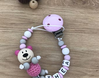 Pacifier o' soft Pearl gray color pink and wood