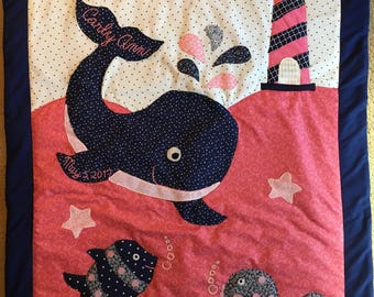 Nautical themed custom made baby quilts